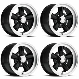 Set 4 15 Vision 141 Legend 5 Black Machined Classic Wheels 15x7 15x8 5x4 5