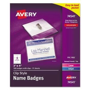 Avery Top Loading Clip Style Name Badges Kit 74541
