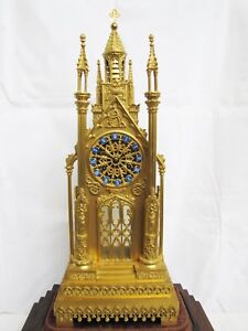 Antique 1800 S French Gilt Bronze Cathedral Mantel Clock