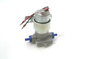Chrome High Performance Electric Fuel Pump 120gph 3 8 Npt Ports Blue Fittings