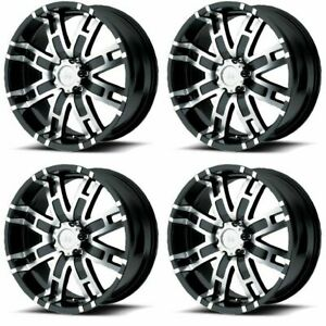 Set 4 20 Helo He835 Black Machined Wheels 20x9 8x170 18mm Ford F250 F350 8 Lug