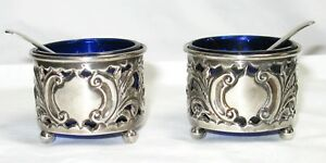 Pair Antique Sterling Silver Footed Salt Cellars Cobalt Glass Lining Spoons