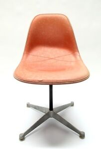 Rare Herman Miller Orange Fiberglass Side Shell Chair Upholstered