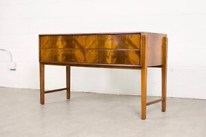 Mid Century Credenza Sideboard Burl Wood Buffet Server Glass Top Mcm Vintage