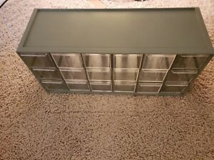 Vintage Akro mils 18 Drawer Compartment Storage Cabinet Grey Used