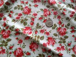 Vintage Quilt Fabric Pink Red Roses On White Floral Print Dolls 35 X 37