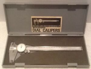 Vintage Dial Caliper Mitutoyo 8 505 627 Great Condition With Plastic Case