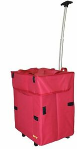 Dbest Products Bigger Smart Cart Red Collapsible Rolling Utility Cart Basket