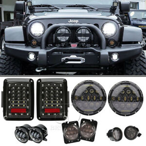 Combo 7 Led Headlight fog Lamp turn Signal fender Lamp taillight For Jeep Jk