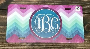 Monogram Chevron Pink License Plate Car Tag New Pink And White Monogram Car Tag