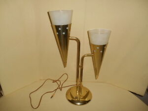 Reduced Mid Century Modern Laurel Lamp Llc Double Cone Brass Desk Lamp
