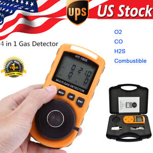 4 In1 Harmful Gas Analyzer Detector Co H2s Ex O2 Toxic Gas Leak Monitor Meter Us