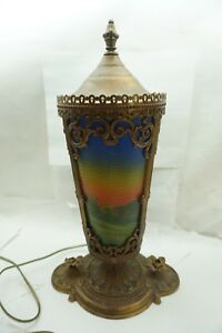 Antique Reverse Painted Lamp Mantle Pedestal Cylinder Panels Scenic House