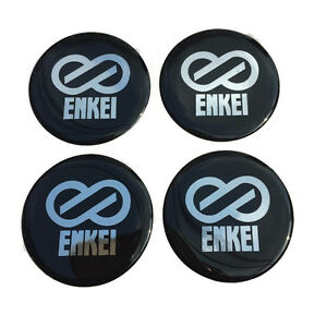 Black Resin Wheel Center Caps Logo Decal Emblem Sticker 4 Pcs Set Enkei 49 Mm