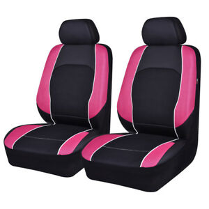 Univesal Car Seat Covers Front Faux Leather Airbag Compatible Breathable pink