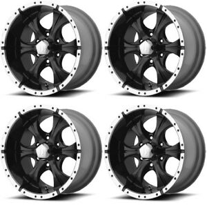 Set 4 15 Helo He791 Maxx Black Machined Rims 15x8 5x4 5 12mm Lifted Jeep Ford
