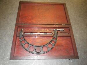 Browne Sharpe 8 9 Outside Micrometer Set Complete Wit 8 Rod And Wood Case
