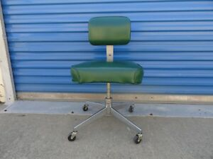 Vintage Steelcase Industrial Swivel Office Chair Rolling Propeller Base Green