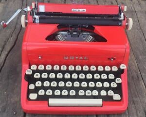 Vtg 50s Red Royal Quiet De Luxe Portable Typewriter Mid Century Antique W case