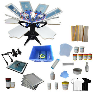 6 Color 6 Station Screen Printing Kit Double Rotary Screen Press With Exposure