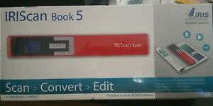 New I r i s Iriscan Book 5 Portable Handheld Scanner Windows Mac Red 458744