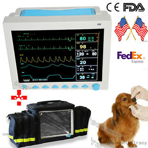 Usa 12 1 Vet Veterinary Monitor Vital Sign Ecg Nibp Spo2 Pr Resp Temp handbag