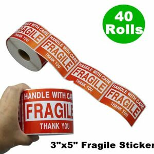 40 Rolls 3 x5 Fragile Stickers Handle With Care Warning Packing Shipping Labels