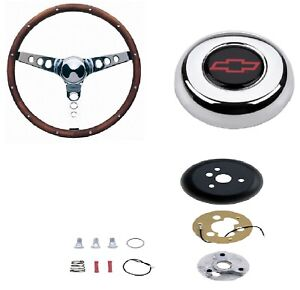 Grant 15 Wood Steering Wheel installation Kit red Horn Button For El Camino