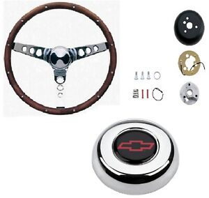 Grant 15 Wood Steering Wheel installation Kit chevy Red Horn Button For Impala