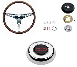 Grant 15 Wood Steering Wheel installation Kit chevy Red Horn Button For Caprice