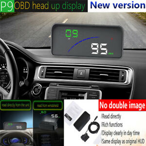 P9 Car Hud Head Up Display Obd2 Obdii Fuel Consumption Speed Warning System To