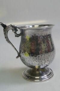 90 Silver Hand Hammered Travel Cup Cup Dolphin Christening Mug