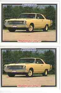 1969 Dodge Dart Gts 440 Baseball Card Sized Cards Lot Of 2 Must See