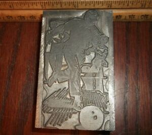 Vintage Nos men A Woman Bowling Solid Lead Cut Letterpress Printing Antique