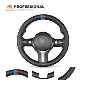 Black Leather Steering Wheel Cover For Bmw F22 F30 F32 F07 F12 M2 M3 M4 M5 M6 X3