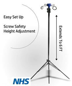 4 Hook Foldable Iv Pole Portable Drip Bag Stand Black Metal Adjustable Easy