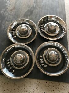 4 Chevy Gm Rally Wheel Derby Center Hub Caps 15 Trim Rings Beauty Rims 7 10