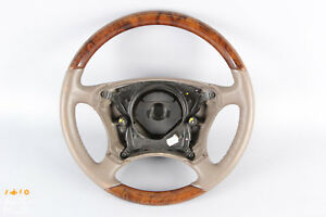 00 06 Mercedes W220 S430 S500 Cl500 Driver Steering Wheel Leather Tan Wood Oem