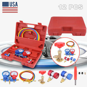 R134a Kit Ac A c Manifold Gauge Set 5ft Colored Hose Air Conditioner W Case Red