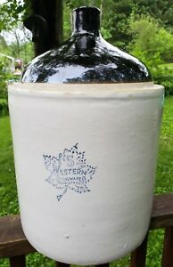 Western Stoneware Co Crock Jug 5 Gallon Maple Leaf Logo Whiskey Wine Liquor