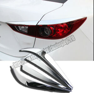Silver Rear Tail Light Lamp Eyelid Cover Trim For Mazda 3 Axela Sedan 2014 2017
