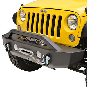 07 18 Jeep Wrangler Jk Front Bumper Black Offroad Rock Crawler With Winch Plate
