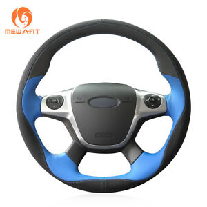 Black Blue Soft Leather Steering Wheel Cover For Ford Focus 3 Kuga Escape C max