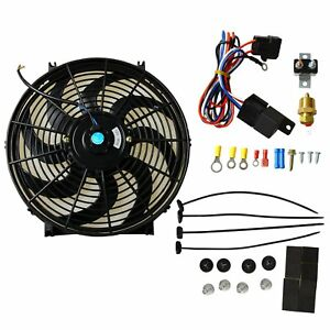 New 14 Electric Radiator Cooling Fan 3 8 Probe Ground Thermostat Switch Kit