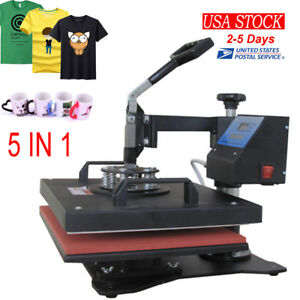 5in1 Digital Heat Press Machine Transfer T shirt Cap Sublimation Printer Updated