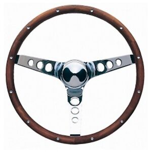 Grant 15 Wood Steering Wheel installation Kit chrome Horn Button For Barracuda