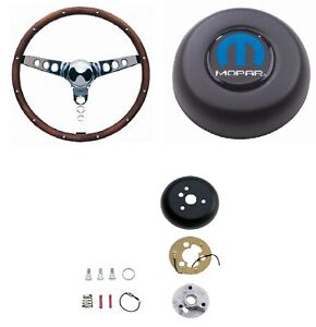 Grant 15 Wood Steering Wheel installation Kit mopar Horn Button For Charger