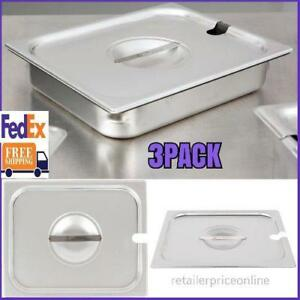 3 Pack 1 2 Size Slotted Stainless Steel Steam Table Hotel Pan Cover Us Fedex