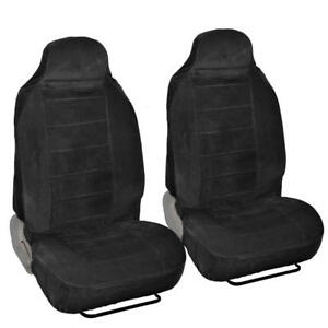 Soft Thick Velour Front Car Seat Covers For High Back Bucket Seats 2pc