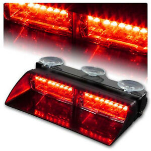 Red Red 16 Led 18w Strobe Light Windshield Emergency Flash For Interior Dash